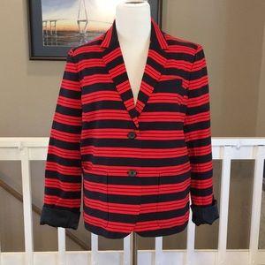 """NWT GAP """"The Academy Blazer"""" Red/Navy Stripe Sz 12"""
